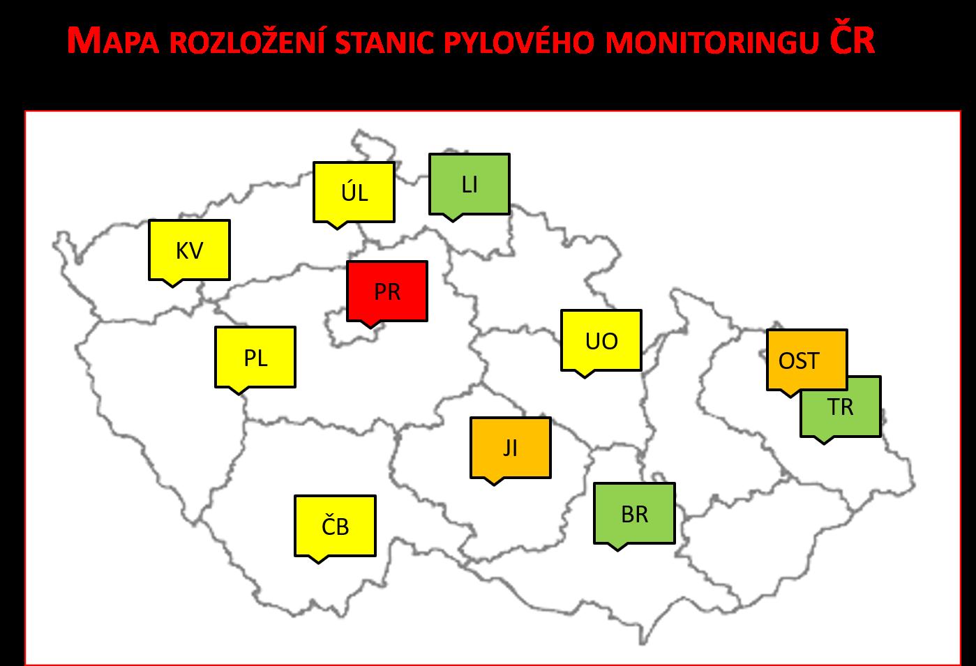 Mapa stanic pylového zpravodajství